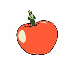 卡通圣诞手绘圣诞树苹果平安夜图片