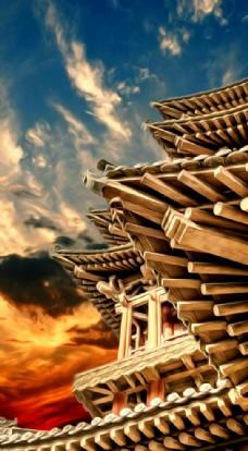 屋檐风景油画图片