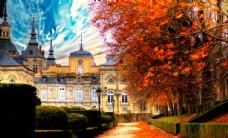城堡风景油画图片
