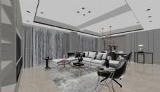 现代客餐厅3d模型图片