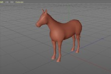 C4D模型一个普通的马图片