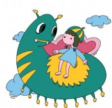卡通手绘小女孩和毛毛虫插画图片