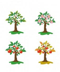 一组手绘的苹果树图片