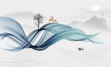 新中式水墨山水背景墙图片