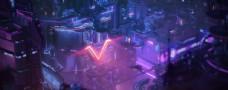 彩色动漫插画城市背景图片