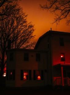 房屋建筑夜晚灯光风景图片