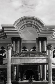 黑白欧式酒店建筑图片