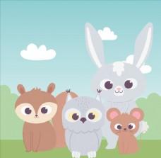 手绘淡彩动物图片