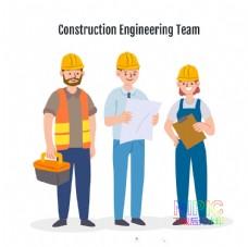插画模版戴安全帽工人建筑工人图片