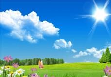 蓝天草地背景图片