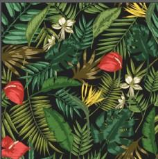 热带植物印花矢量图片