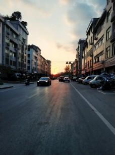 夕阳街道图片