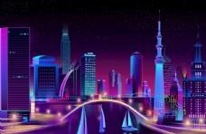 图形矢量图背景大厦neon图片